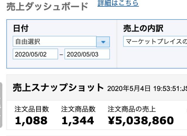 巣篭もり商品Amazonで2日で500万円の売上を達成ました。